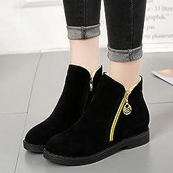 28bddd3c9 ... DAYLIN Mujer Botas Botines Zapatos Planos Moda Color S lido Punta  Redonda Cremallera Shoes Gamuza Botas ...
