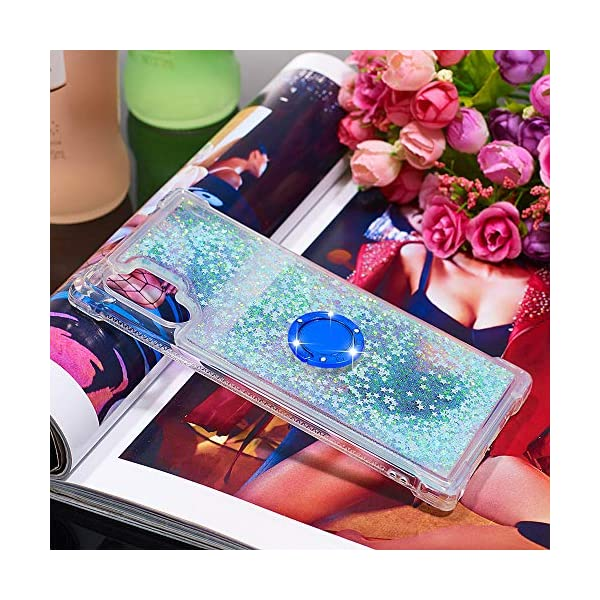 FAWUMAN Liquid Sparkly Quicksand TPU Gel Silicone Shockproof Phone Cover[Diamond Ring] Cases for Samsung Galaxy Note10+ / Note10 Pro / Note10 Pro 5G (Silver light blue stars) FAWUMAN 1.Compatible Model: Samsung Galaxy Note10+ / Note10 Pro / Note10 Pro 5G, glitter liquid case specially for teenage, girls and women. 2.3D Quicksand creative cover, make your mobile phone Shiny Luxury Sparkle Glitter around.the inside quicksand flowing freely, make your mobile phone special and gorgeous, bring more fun to you. 3.Made of hight quality TPU: Scratch resistant and shock absorbent soft TPU covers all four corners offering all around shock absorbent drop protection keeping phone safe from dents, scratches, and other daily wear. 6