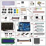 Sanzo® ELECTRONICS Starter Kit para Arduino, uno r3,830agujero placa de pruebas, motor de ventilador, botón, Dupont, foto Resistencia de alambre, Pas