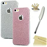 iPhone SE Case, iPhone 5S / iPhone 5 Case - Mavis's Diary 2 × Bling Shiny Sparkle Soft TPU Case Durable Design Clear Cover with 1 × Crown Dustproof Plug + 1 × Silver Feather TouchScreen Stylus for iPhone SE & iPhone 5s & iPhone 5 ( Silver + Rose Gold )
