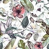 murando Papel Pintado 10 m Tropical Hojas Fotomurales tejido no tejido rollo Decoración de Pared decorativos Murales XXL moderna de Diseno Fotográfico - Flores Hojas Tropicales b-C-0242-j-a