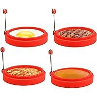 Welltop   Set di 4 anelli per uova  antiaderenti  in silicone  per frittura  uova  frittura  uova  cuocere uova in camicia  stampi per uova fritte  pancake  Mcmuffin  omelette  crumpets  rosso