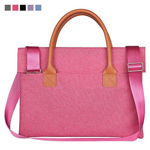 Qishare Multifunktionale Universal Fashion Durable Oxford Gewebe Tragbare Handtasche, Aktenkoffer, Schultertaschen, mit abnehmbarem Schultergurt (13,3-14 Zoll,Rosa) (Rosa Aktenkoffer)