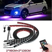 Sunwan, strisce LED luminose per carrozzeria auto, con controllo vocale, 2 strisce da 90 cm e 2 strisce da 120 cm, 4…
