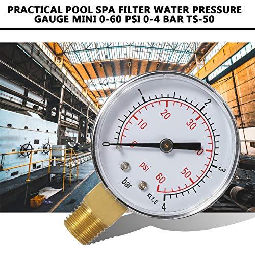 Práctico Piscina Spa Filtro Manómetro de presión de agua Mini 0-60 PSI 0-4 Bar Montaje lateral 1/4...