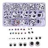 1100 Stück selbstklebende Wackelaugen 5-25mm Mix Rund Oval verschiedene Größen mit aufgemalten Wimpern Box
