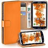 moex Samsung Galaxy S3 | Hülle Orange mit Karten-Fach 360° Book Klapp-Hülle Handytasche Kunst-Leder Handyhülle für Samsung Galaxy S3 / S III Neo Case Flip Cover Schutzhülle Tasche