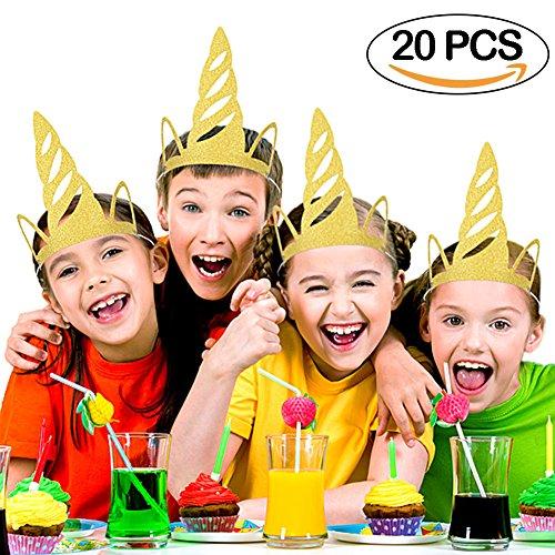 horn Party Hüte Glitter Gold Einhorn Horn Hüte Party Supplies Party Dekorationen für Kinder (Einhorn Hüte)