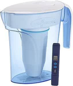 ZeroWater Caraffa filtrante per Acqua 1,7L, Filtro e misuratore della qualitá dell'Acqua Inclusi, Plastica priva di BpA e Certificato per la Riduzione di Piombo e Altri Metalli Pesanti