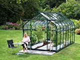Gartenwelt Riegelsberger Gewächshaus Diana - Ausführung: 11500 ESG 3 mm dunkelgrün, Fläche: ca. 11,5 m², mit 4 Dachfenster, Sockel: 2,54 x 4,41 m