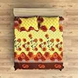EIN SOF Cotton Double Bedsheet King Size (90x100 Inches) With 2 Pillow Covers Combo Set, Double Bed, King Size Cotton Bedsheet,3D Printed Technology, Floral Design(Yellow & Brown, 150 TC)
