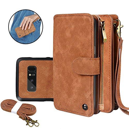 Samsung Galaxy Note 8 Brieftasche Hülle, CORNMI Note 8 Ledertasche abnehmbare Handytasche Reißverschluss Brieftasche für Handy aus hochwertiger PU Leder mit Schlitz und Halterung Armband und Schulterriemen Abdeckung für Note 8 mit Multifunktion