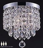 Smart Lighting Shupregu, mini plafonnier en cristal, plafonnier en cristal pour couloir, entrée, chambre, etc. Plafonnier Moderne Avec 3 Ampoules Led Dimmable (Gratuit), Diamètre 25cm