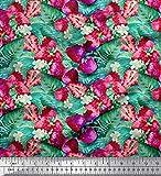 Soimoi Rosa Kreppseide Stoff Blätter, Blumen und Erdbeeren