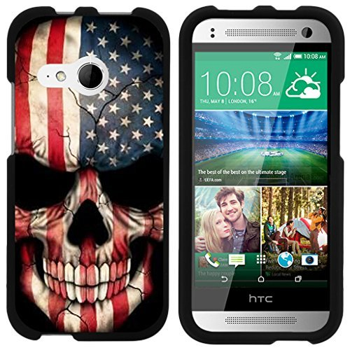 turtlearmor | Kompatibel für HTC One M8Mini Schutzhülle | One Mini 2| One Remix [Slim Duo] Zwei Stück Hard Cover Slim Snap auf Fall auf Schwarz -, US Flag Skull (Htc One Boost Mobile Telefon)