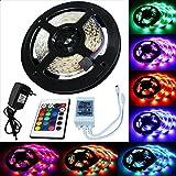 TRESKO® 5m LED Strip Licht Streifen Band Leiste mit 300 LEDs (SMD 3528) inkl. Fernbedienung & Netzteil