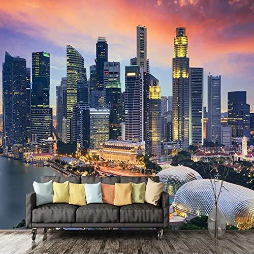 Fototapeten 3D Singapur Stadt Nachtsicht Ganzes Haus Wohnzimmer Schlafzimmer Hintergrund Wandbild Tapete Dekoration W250xH175CM
