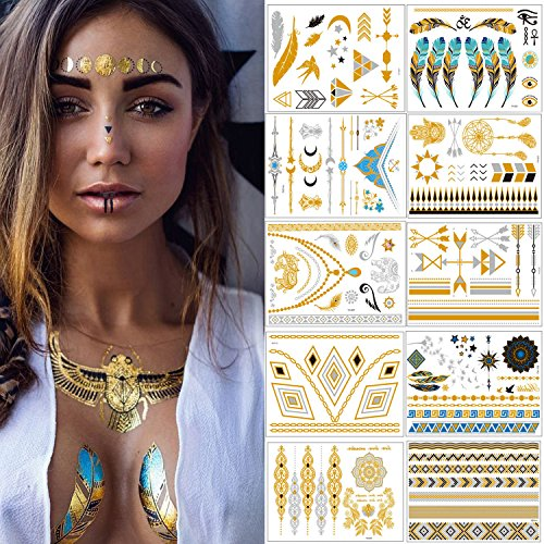 Flash Tattoos - Meersee Temporäre Klebe-Tattoos 10er Set Metallic Flash Tattoos in Gold und Silber Temporäre Tätowierung - Coole Arbeit Kostüm