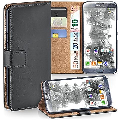 Samsung Galaxy Note 2 Hülle Dunkel-Grau mit Karten-Fach [OneFlow 360° Book Klapp-Hülle] Handytasche Kunst-Leder Handyhülle für Samsung Galaxy Note 2 Case Flip Cover Schutzhülle Tasche
