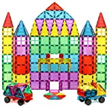Magnet Build Deluxe 100 Piece Colorful Magnetic Tile Play Set Building Kit