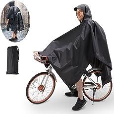 TBoonor Handschlaufen Fahrrad Poncho Premium Regenponcho mit Verstellbarer Kapuze reißfestes und Wasserdichtes Regenjacke Regenponcho Fahrrad Raincoat Regencape Regen Poncho Damen Herren