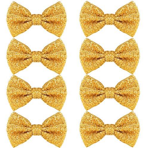 Pailletten Fliege Schleife 8 Pack Glitzer Fliege Vorgebunden, 7 x 12cm Einstellbare Fliege Eine Grösse passt Allen Bow Tie, Herren Damen Kinder Fliege für Fancy Kostüm Party Zubehör (Gold)