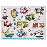 Veicoli Peg Puzzle in Legno - Educativo Giocattolo Prescolare I Bambini Giocattolo