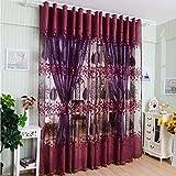 Bovake Modern Room foglia floreale tulle finestra screening tenda drappo sciarpe Red