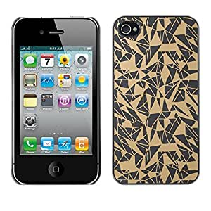 Omega Covers - Snap on Hard Back Case Cover Shell FOR Apple iPhone 4 / 4S - Pattern Abstract Art Beige Grey
