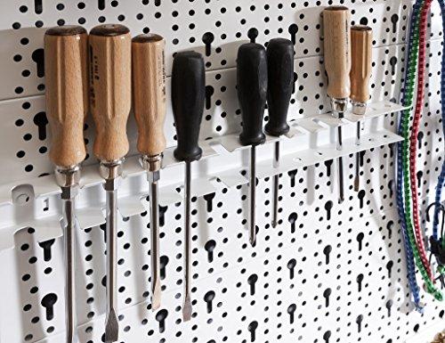 Element System Werkzeugwand aus Metall plus 18 teiliges Werkzeughalterset inklusive Schrauben und Dübel, Lochwand zur Werkzeugaufbewahrung weiß - 4