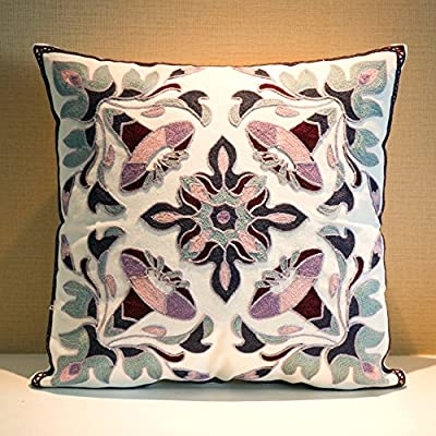 "MeMoreCool Bohemia Exotic Style Pillow Sham Exquisite Stereoscopic Embroidered Cotton Throw Pillow Cover Indian Decor Sofa Cushion Cover Pillow Case 18""x18"" produced by MeMoreCool - quick delivery from UK."