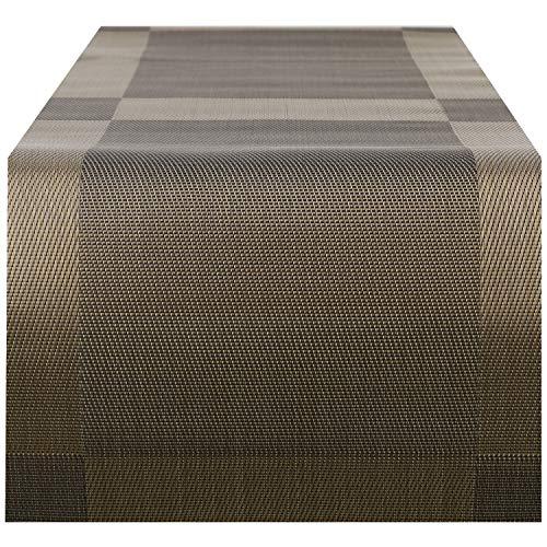 Premium Woven Holz (Nuovoware Tischläufer, 30 x 180 cm Premium Exquisite Woven Stain Resistant hitzebeständige rutschfeste Textilene Tischläufer Dekoration für Küche und Speisesaal, Braun)
