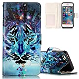 iPhone 5/5S/SE Lederhülle, Flip Bookstyle Case Cover für iPhone 5, Aeeque [Glitzer Relief Blau Tiger Bilder] Kartenfächer Ständer Handycover Tasche Hülle Etui Schutzhülle für iPhone 5 5S SE mit Schwarz Weich Silikon Innere Bumper Schale