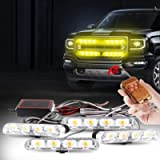 Yifengshun 4 in 1 LED Police Lights Emergency Strobe Lights For Truck Vehicle Warning Flashing Caution Light Bar Grilles…