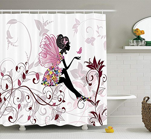 JIEKEIO Teen Girls Decor Shower Curtain Set, Flower Fairy with Butterflies Wings Branches Ornamental Floral Spring Forest, Bathroom Accessories, 60 * 72inch Extralong (Spring Fairy Wings)