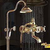 MMYNL Badarmaturen thermostatische Dusche Set Badewanne & Dusche Systeme Gold Antik Kupfer Heiße und Kalte Vergoldung Duscharmaturen