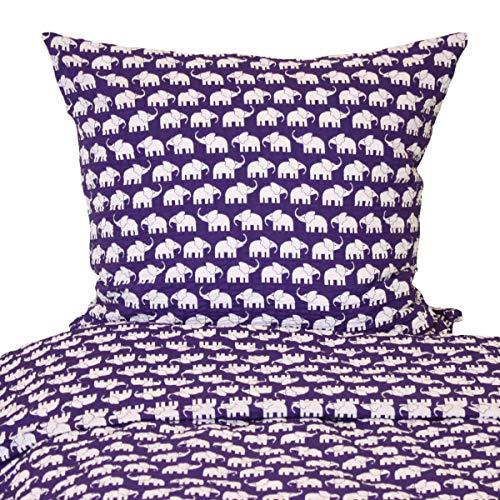 Hans-Textil-Shop Seersucker Bettwäsche 135x200 80x80 cm Elefanten Baumwolle - Bettwäsche Geraffte Lila