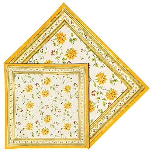 Giallo Bianco tovagliette e tovaglioli set di 6 decorazioni per la casa indiana di cotone