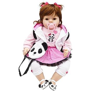 Decdeal NPK Bambole Reborn Bambolotti 20in 50cm Reborn Baby Rebirth Doll Regalo per Bambini Materiale Materiale Set di Bambole Corpo di Stoffa Love Panda