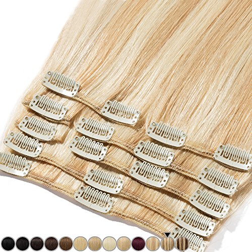 Extension de Cheveux Naturel a Clip #18+613 Sable blond Méché Blond très clair - Volume Moyen 8 Pcs - 100% Human Hair Extensions Clip in Remy 40cm-90g