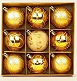 Set of 9 Gold Christmas tree baubles 6cm by Premier