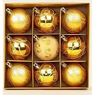 Premier – Juego de 9 Bolas para árbol de Navidad (6 cm), Color Dorado