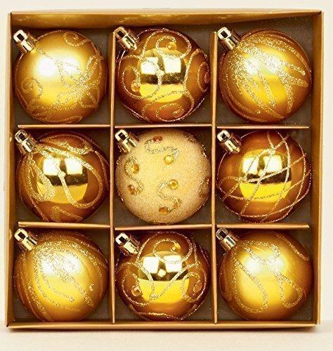 Lot de 9 boules de Noël Doré 6 cm