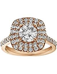 Silvernshine 1.78 Carat White Cubic Zirconia Diamond 18k Rose Gold Plated Alloy Engagement Ring