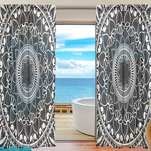 TIZORAX Vorhang mit Mandala-Blumenmuster, für Wohnzimmer, Gardinenstange, Fenster, durchsichtig, Voile, für Schlafzimmer, 1 Paar, 139,7 x 198 cm, Polyester, Multi, 55