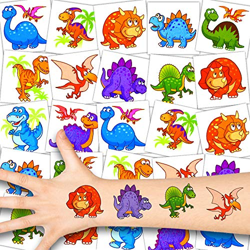 German Trendseller® 12 x Dino Kinder Tattoos - Set Tattoo - Dinosaurier Party ┃ Kindergeburtstag ┃ Mitgebsel ┃ Süße Kleine Dinos ┃ 12 Tattoos