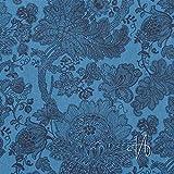 MIRABLAU DESIGN Stoffverkauf Baumwolle Canvas florales Muster blau (26-003M), 0,5m