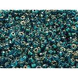 50pcs Rondelle Beads - Tschechische Glas Perlen Fire-Polished in der Form von facettiert Scheibe 5x3mm, Aquamarine Travertine