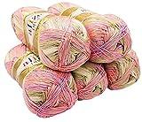 ALIZE 5 x 100 Gramm Diva Batik Wolle Mehrfarbig mit Farbverlauf, 500 Gramm merzerisierte Strickwolle Microfiber-Acryl (Lachs Rosa Beige Creme 2807)