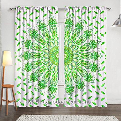 indien coordonnés Vert plumes Paon Mandala fenêtre de chambre à coucher Rideaux, rideaux, lit simple vitrage, écharpe 2panneau de porte Decor 213,4x 203,2cm